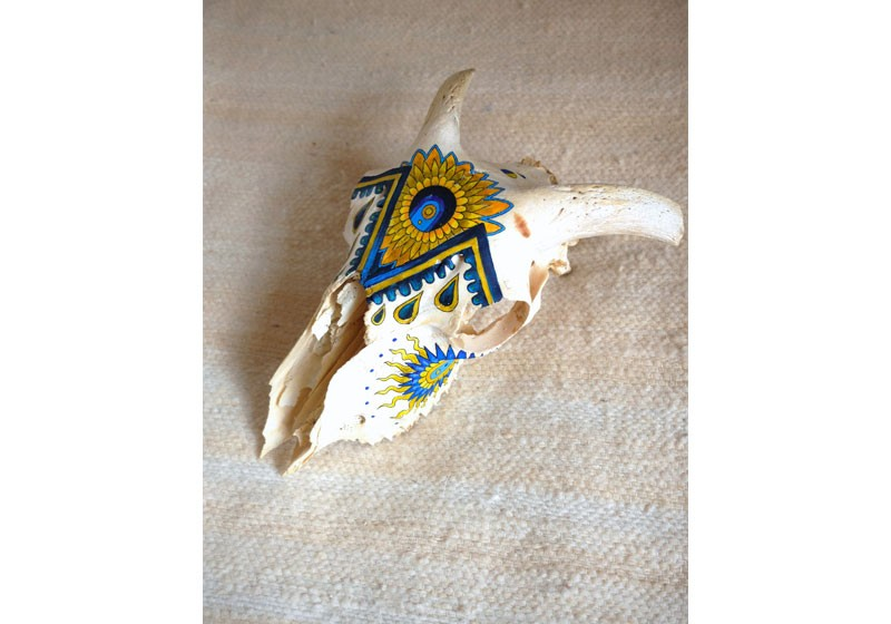 oeuvre art crane animal belier couleur motifs boheme
