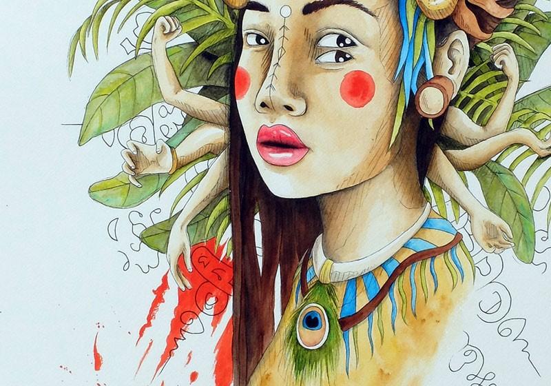 peinture tribale portrait ethnique femme jungle