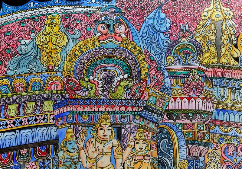 dessin details temple hindou couleurs details