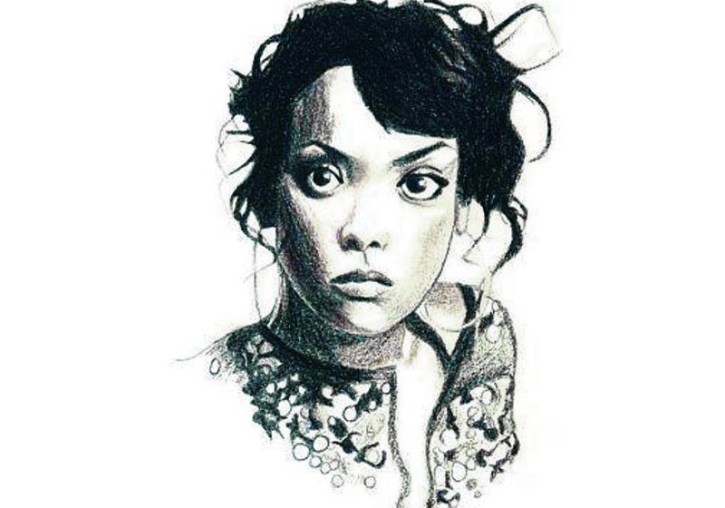portrait expressif femme noir et blanc pastel sec contrastes
