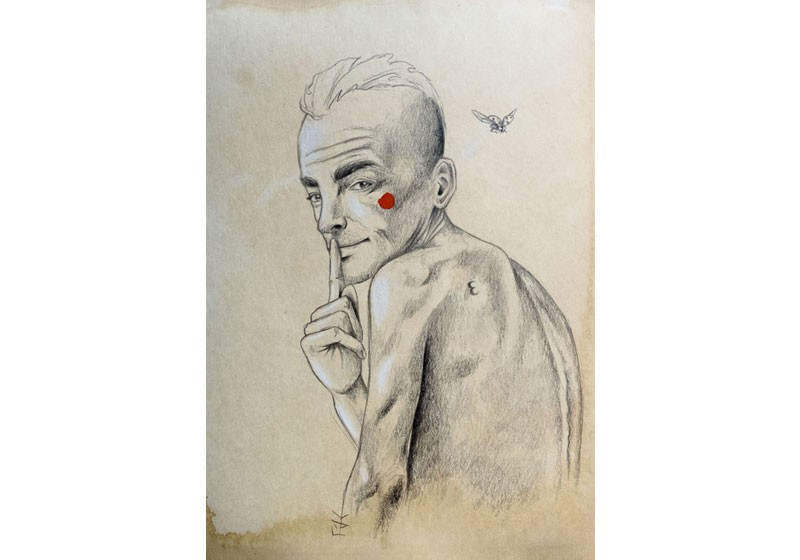 dessin art homme dos crayon silence coccinelle