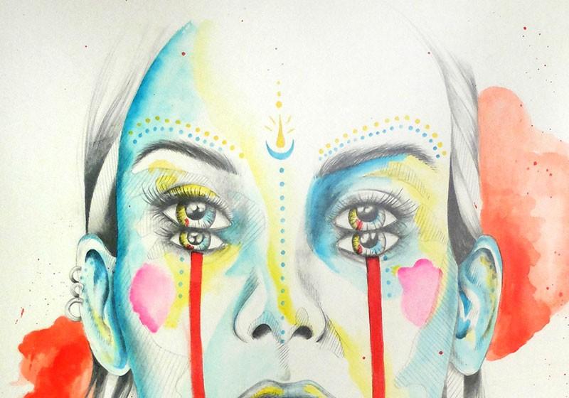 creation artiste peinture aquarelle portrait feminin de face
