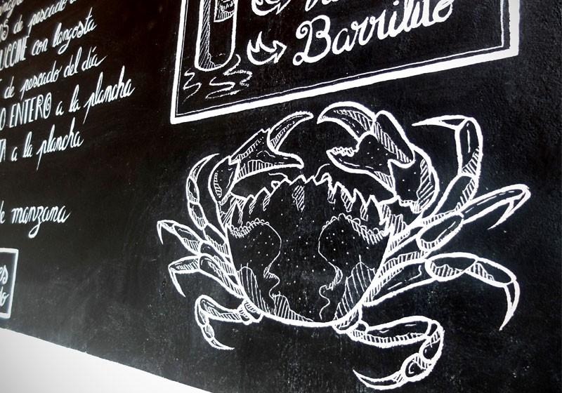 dessin craie blanche ardoise restaurant animal crabe