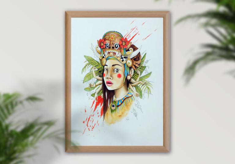 tableau portrait femme indonesie doubles yeux masque bali