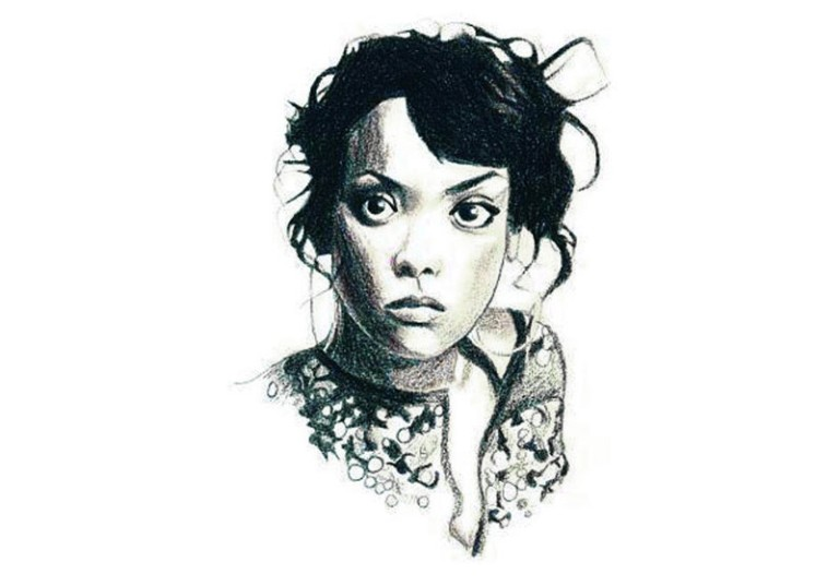 portrait hyperrealiste femme face noir et blanc