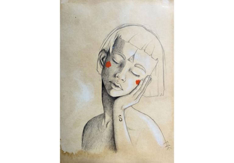 dessin art femme dormant troisieme oeil triangle front