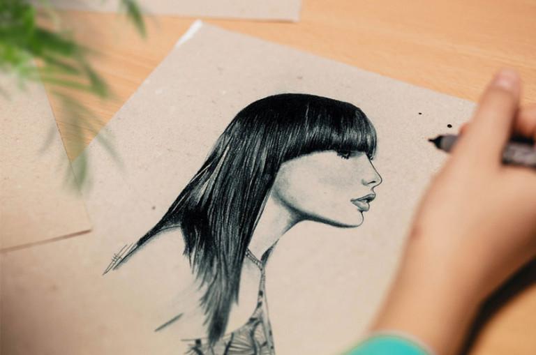 dessinateur portrait profil crayon noir et blanc hyper realiste
