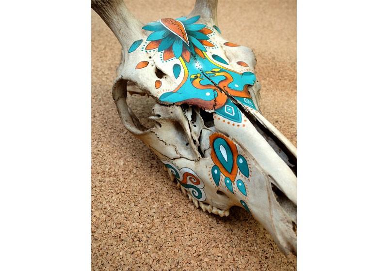 art squelette animal cerf foret esprit couleur art deco