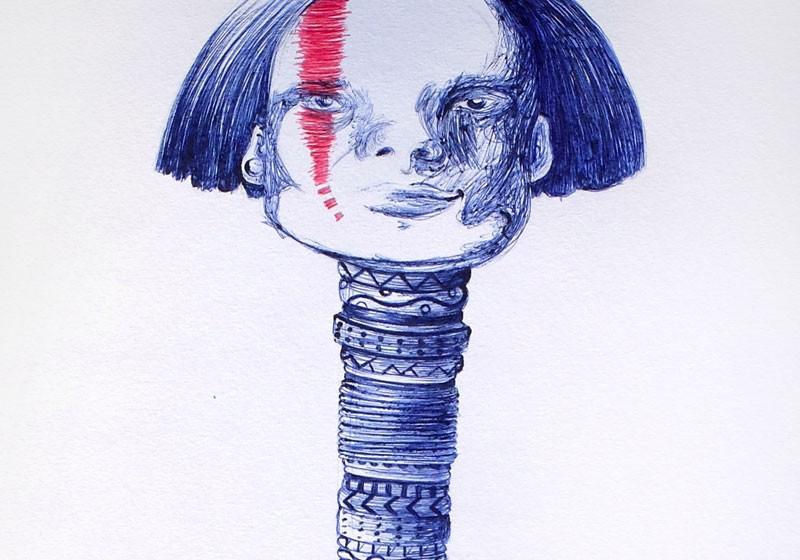 art stylo bille bleu et rouge tableau deco art