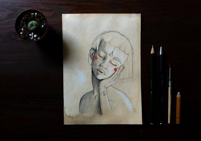dessin illustration jeune femme cheveux courts endormie joues rouges