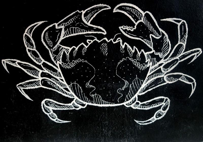 dessin artiste craie blanche ardoise fruit de mer repas restaurant