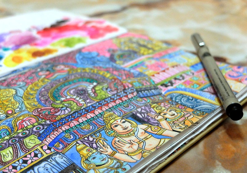 illustration peinture temple indien protection entree