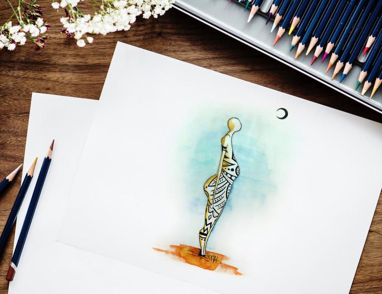 oeuvre dessinateur illustration poetique personnage lune