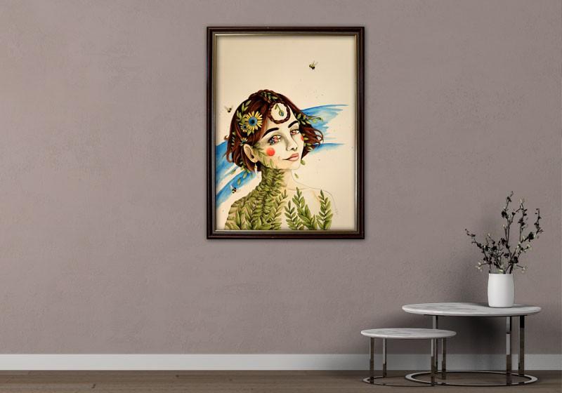 tableau peinture surrealisme portrait femme double yeux deco artiste
