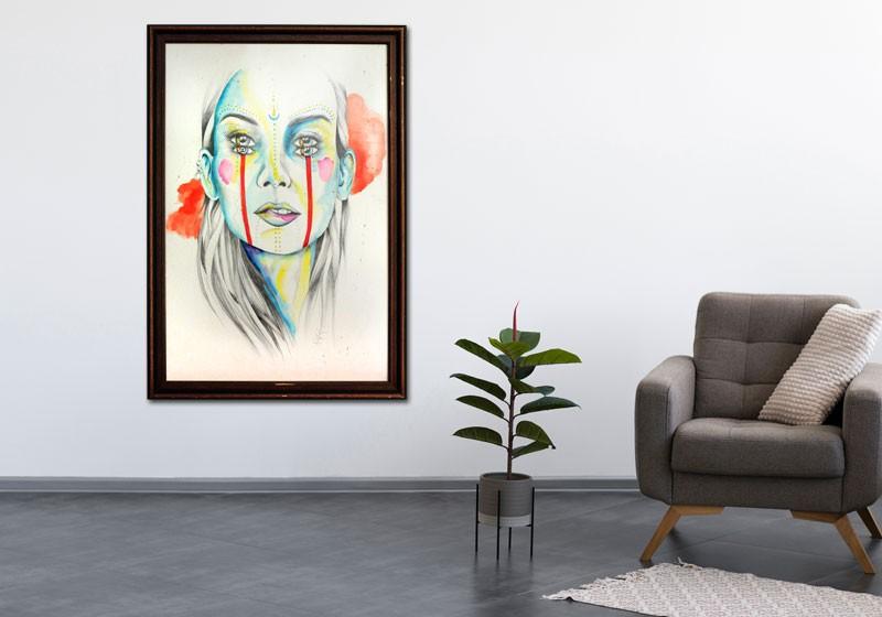 oeuvre art decoration maison tableau portrait femme