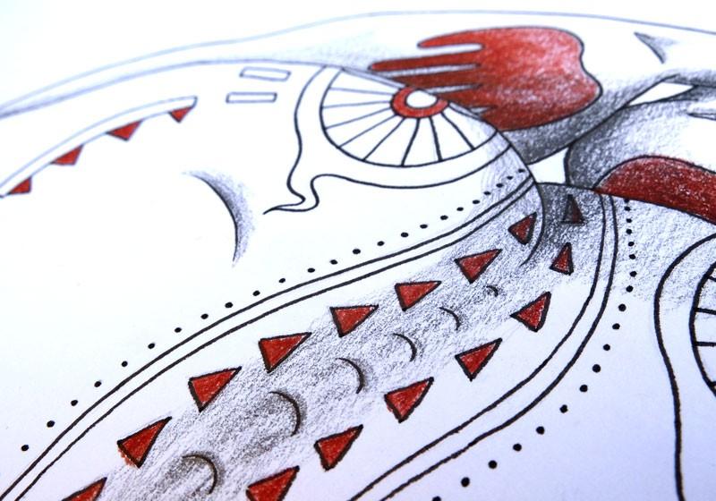 illustration crayon a papier pastel sec motifs ethniques tribal
