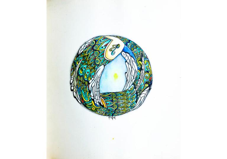 dessin poissons eau cercle goutte deau creation art