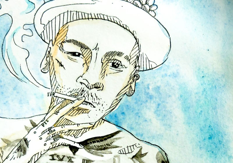illustration homme qui fume aquarelle texture art caricature