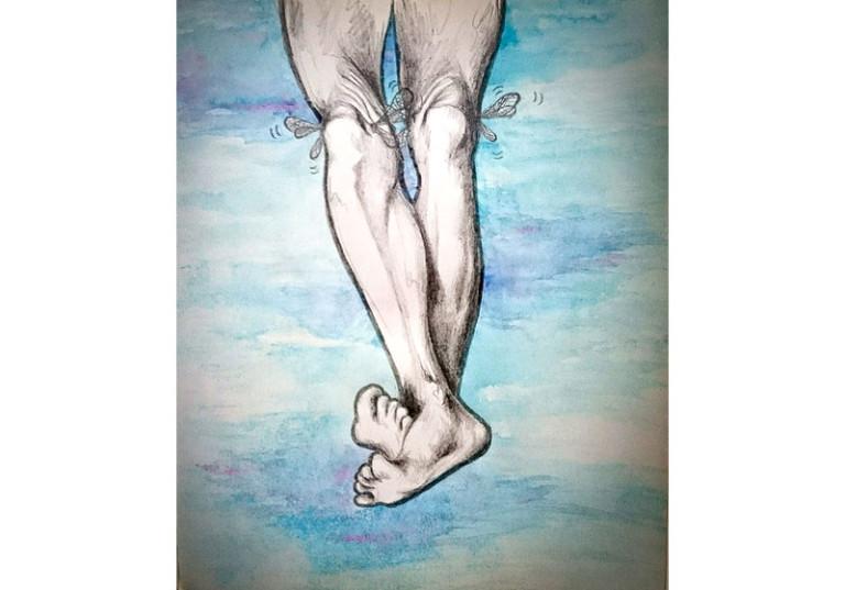 illustration peinture artistique fictif jambes avec des ailes