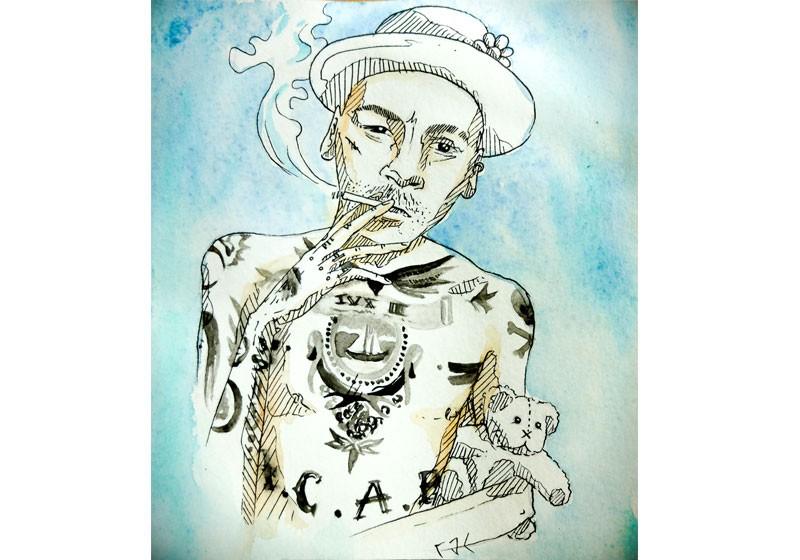illustration aquarelle portrait homme qui fume fond bleu