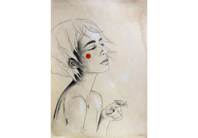 dessin artiste dessinateur portrait femme profil vintage