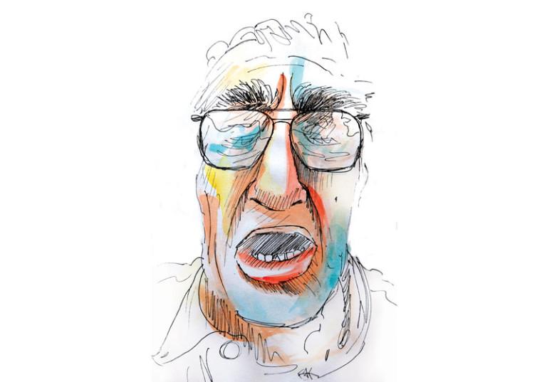 portrait expressif homme de face aquarelle encre de chine