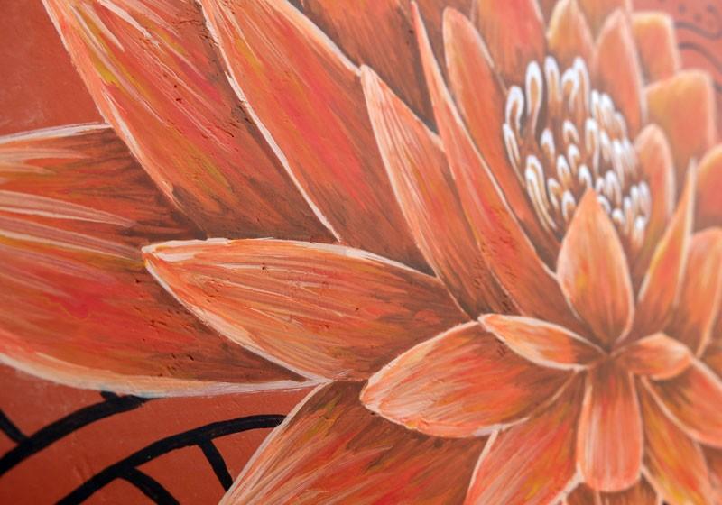 creation decoration peinture lotus fleur motif exterieur