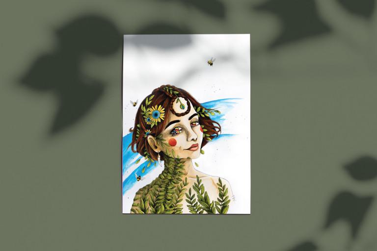 poster peinture portrait aquarelle
