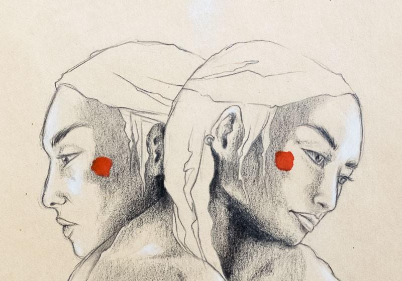 oeuvre art dessin noir et blanc femmes profil dessinateur