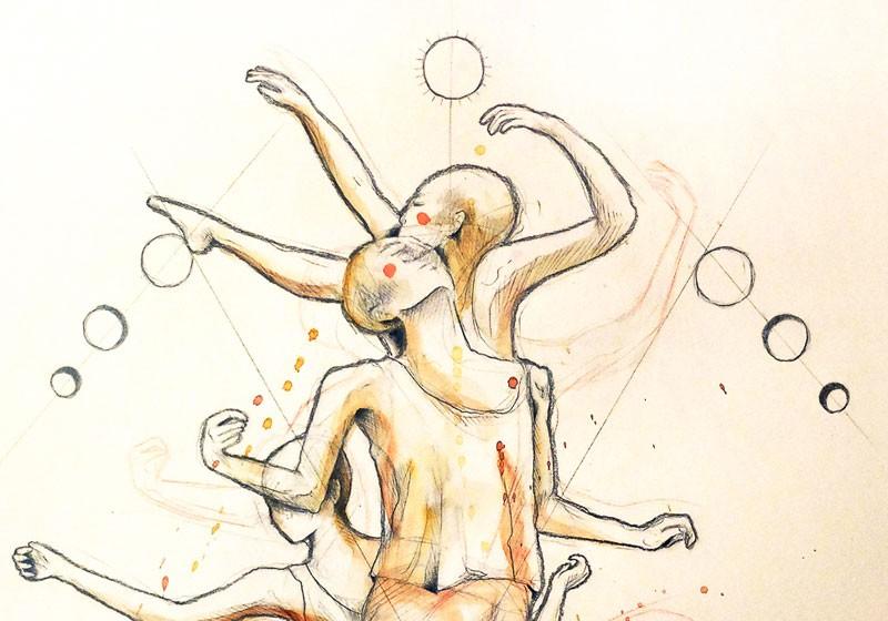 dessin danse homme lune timelapse