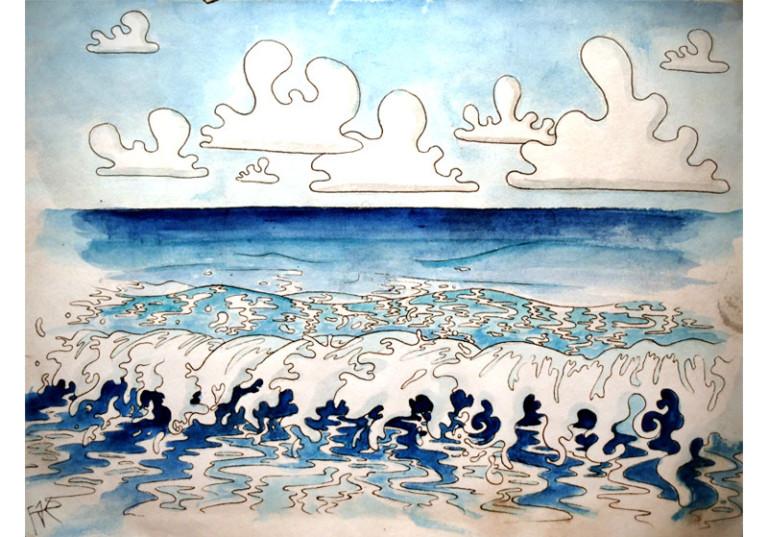 illustration dessin art etude mer bleu vagues
