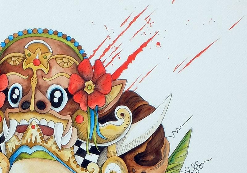 tableau masque barong couleurs aquarelle 82