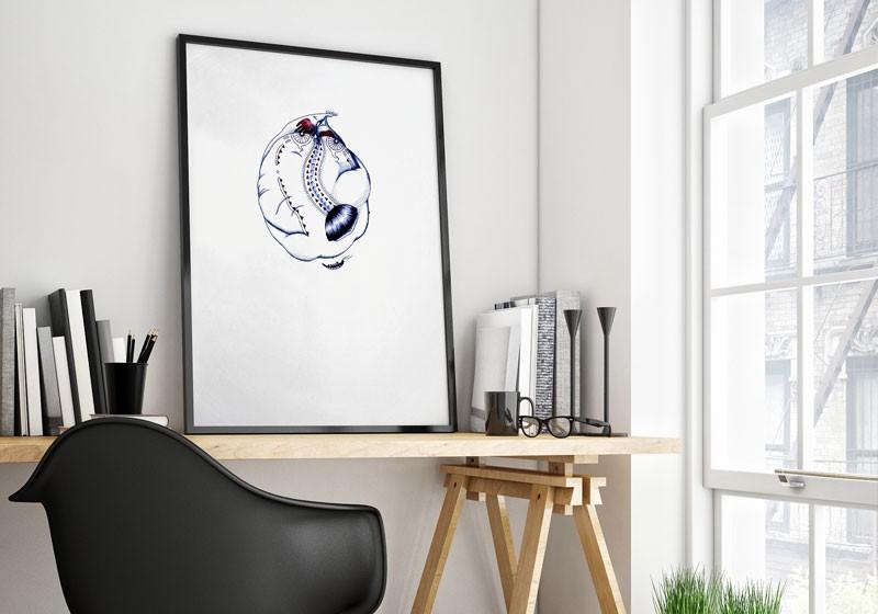 dessin poetique grand format forme ronde personnage surrealiste