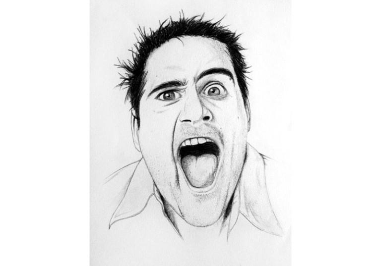 portrait realiste homme noir et blanc grimace expression