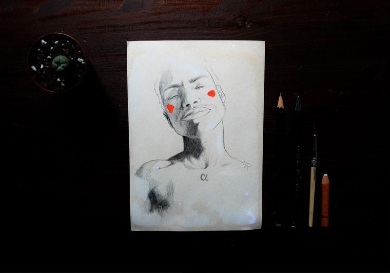male alpha dessin artistique noir et blanc dessinatrice