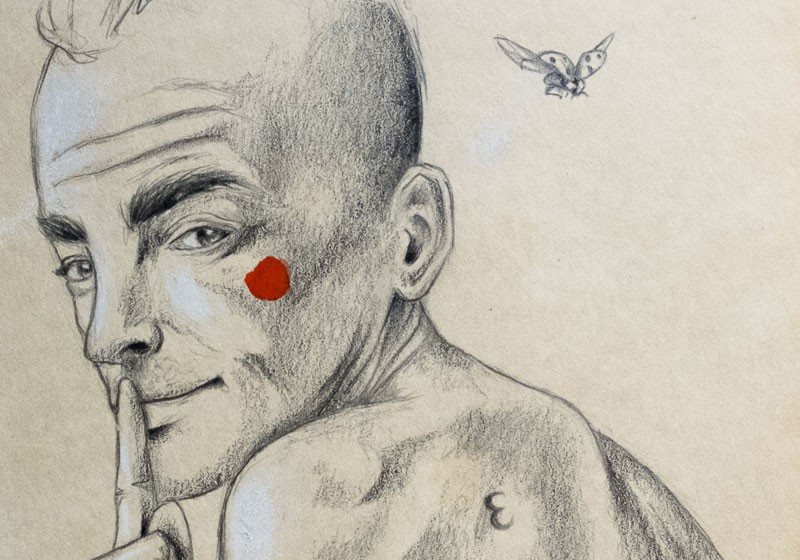 dessin crayon homme visage silence joue rouge insecte