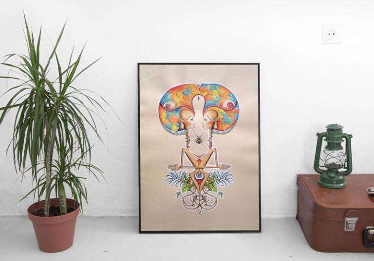 tableau peinture artistique symetrie femmes nature racines