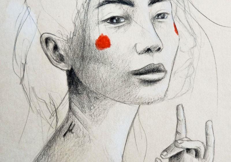 portrait femme asiatique crayon papier brun mudra