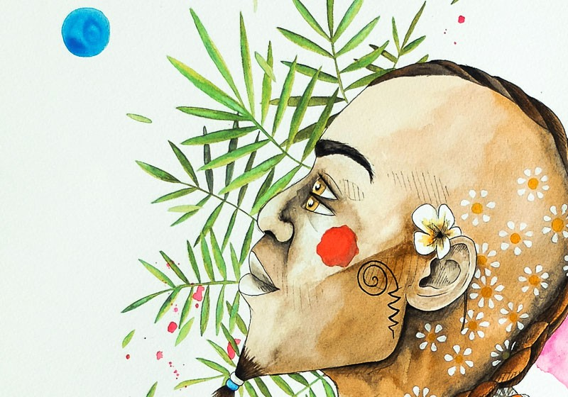 dessin homme profil portrait aquarelle tribal ethnique