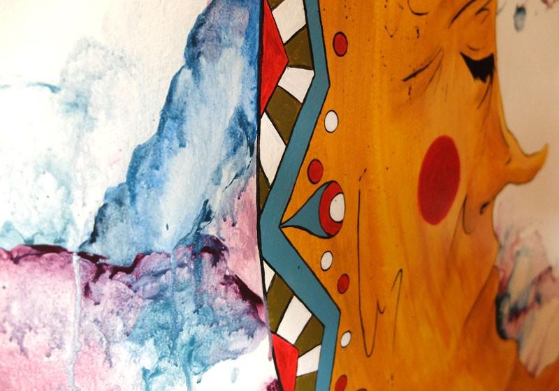 peinture murale effet aquarelle mur chambre hotel deco art