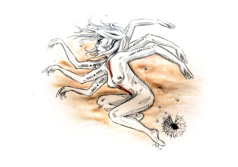dessin femme nue surrealiste shiva vent qui tourne nu