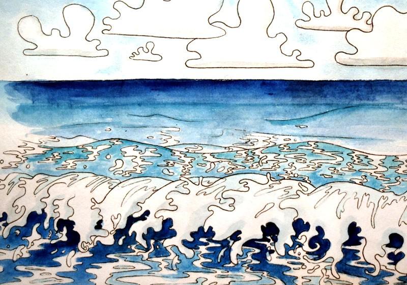 ecume vagues dessin ocean bleu
