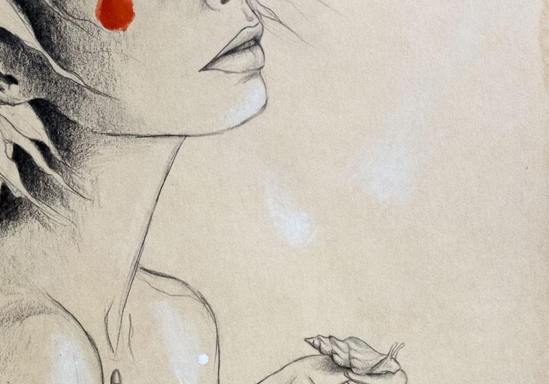 dessin dessinatrice femme cheveux visage vent escargot