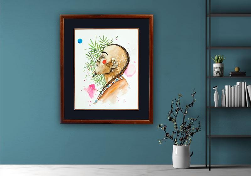 decoration tableau art portrait plantes homme poeme