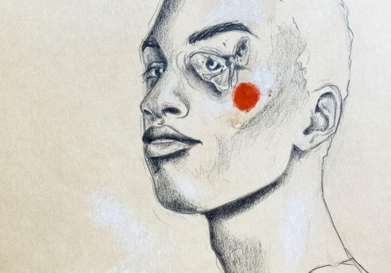 dessin portrait homme metis papillon joue rouge regard