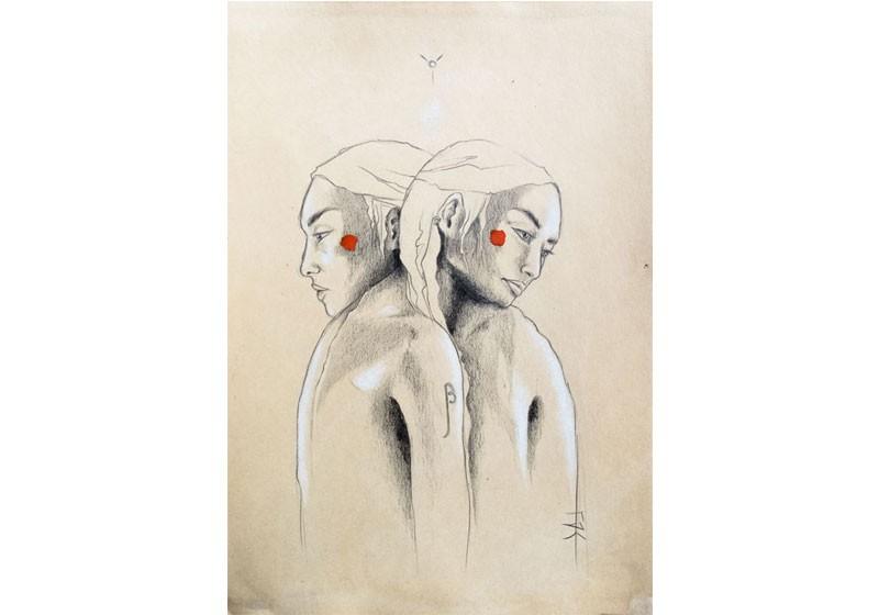 illustration dessin crayon beige rouge portraits femmes