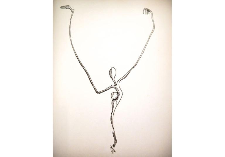 creation artistique dessin personnage danse longs bras