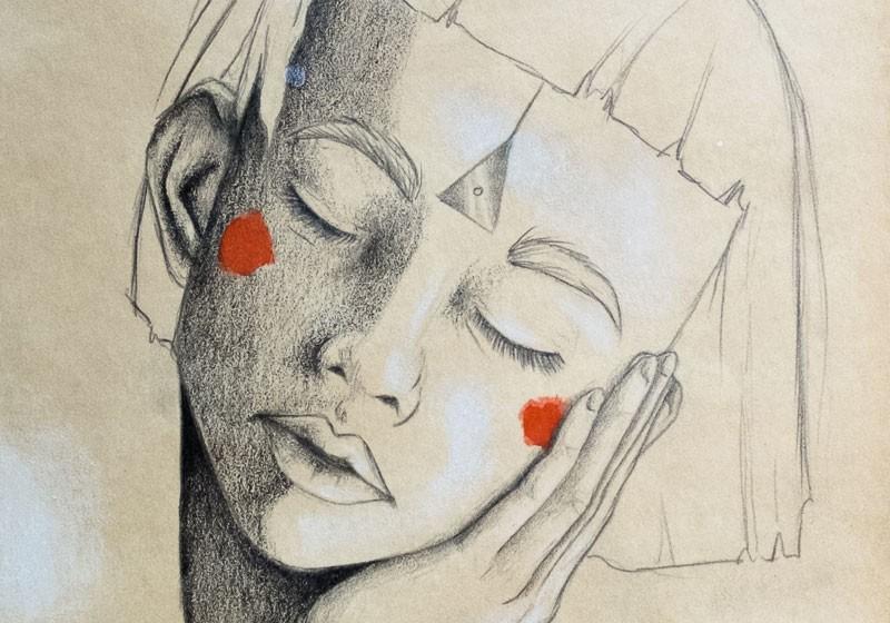 dessin noir et blanc femme qui dort triangle troisieme oeil