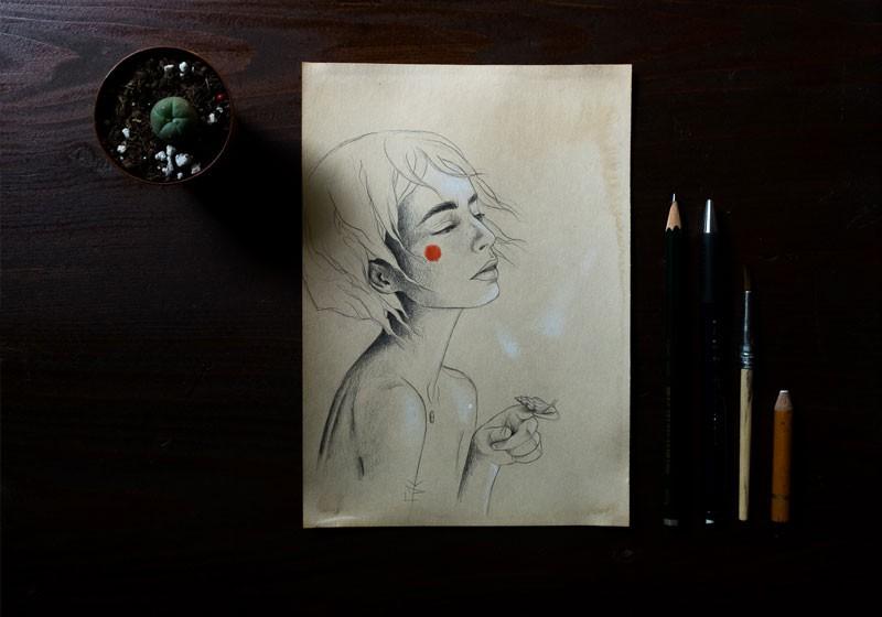 portrait femme cheveux vent joue rouge femme dessinateur pro